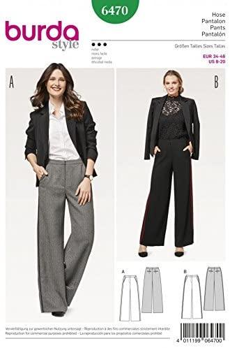 Burda Ladies Sewing Pattern 6470 Smart Wide Leg Trousers