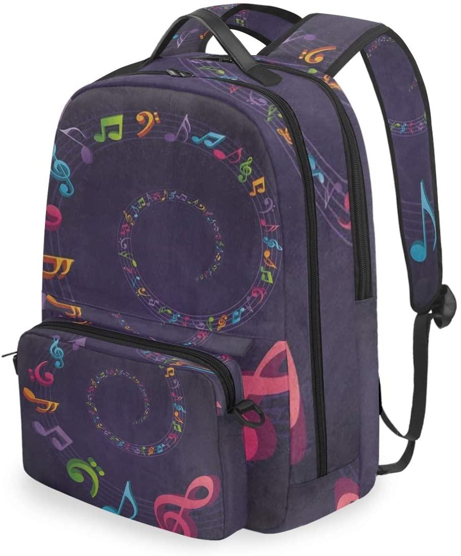 SLHFPX Women/Men Backpack Purple Colorful Music Note Bookbag College School Shoulder Bag Daypack Travel Rucksack for Youth