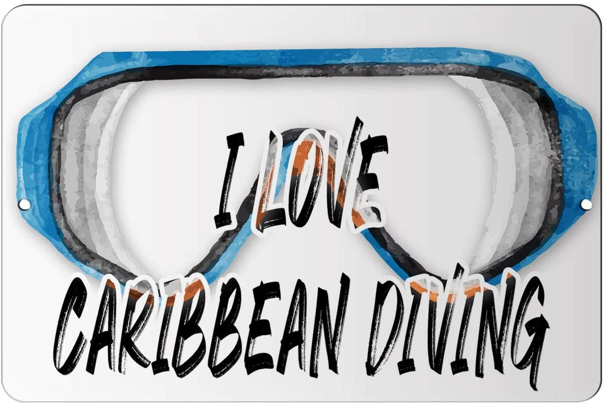 Makoroni - I Love Caribbean Diving Scuba Diving Design 12x18 inc Aluminum Decorative Wall Street Sign