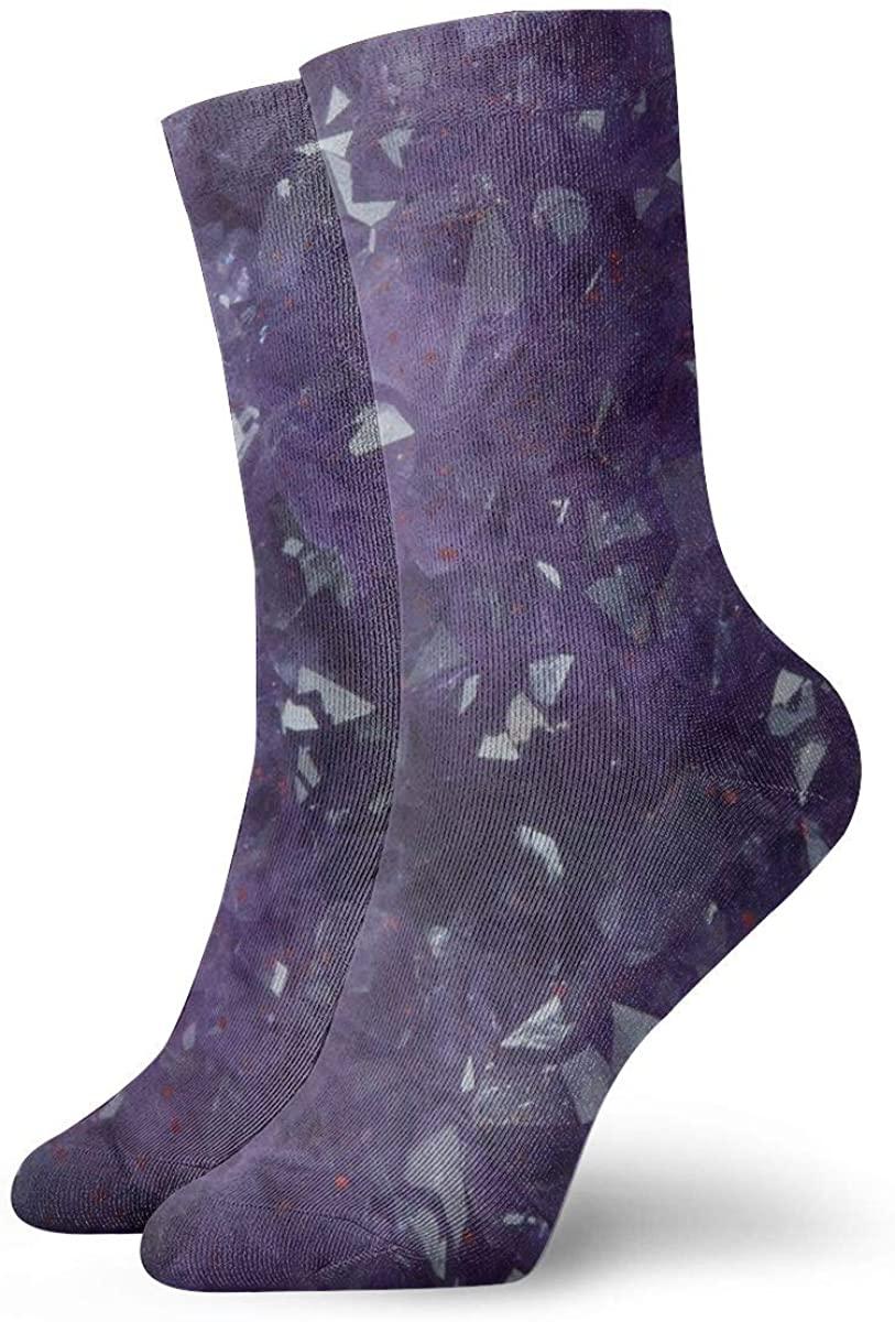 Amethyst Texture Short Crew Socks Dress Socks Athletic Socks