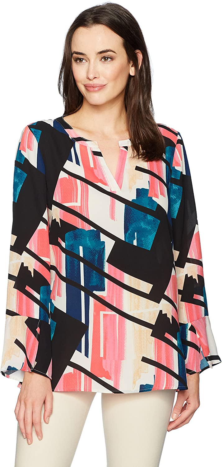 Chaus Women's Long  Flounce Sleeve Abstract Exhibit Blouse