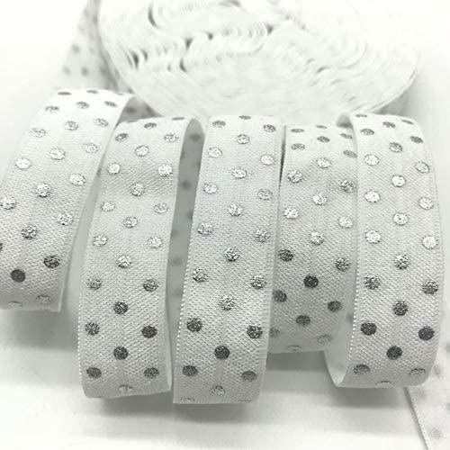 10Yards Polka Dots Print Fold Over Elastic 5/8inch-Printed Elastic Ribbon-Elastic Bands for Sewing-FOE Elastic for Sewing Crafts DIY-FOE Ribbons for Craft-FOE Ribbon Decoration Accessories