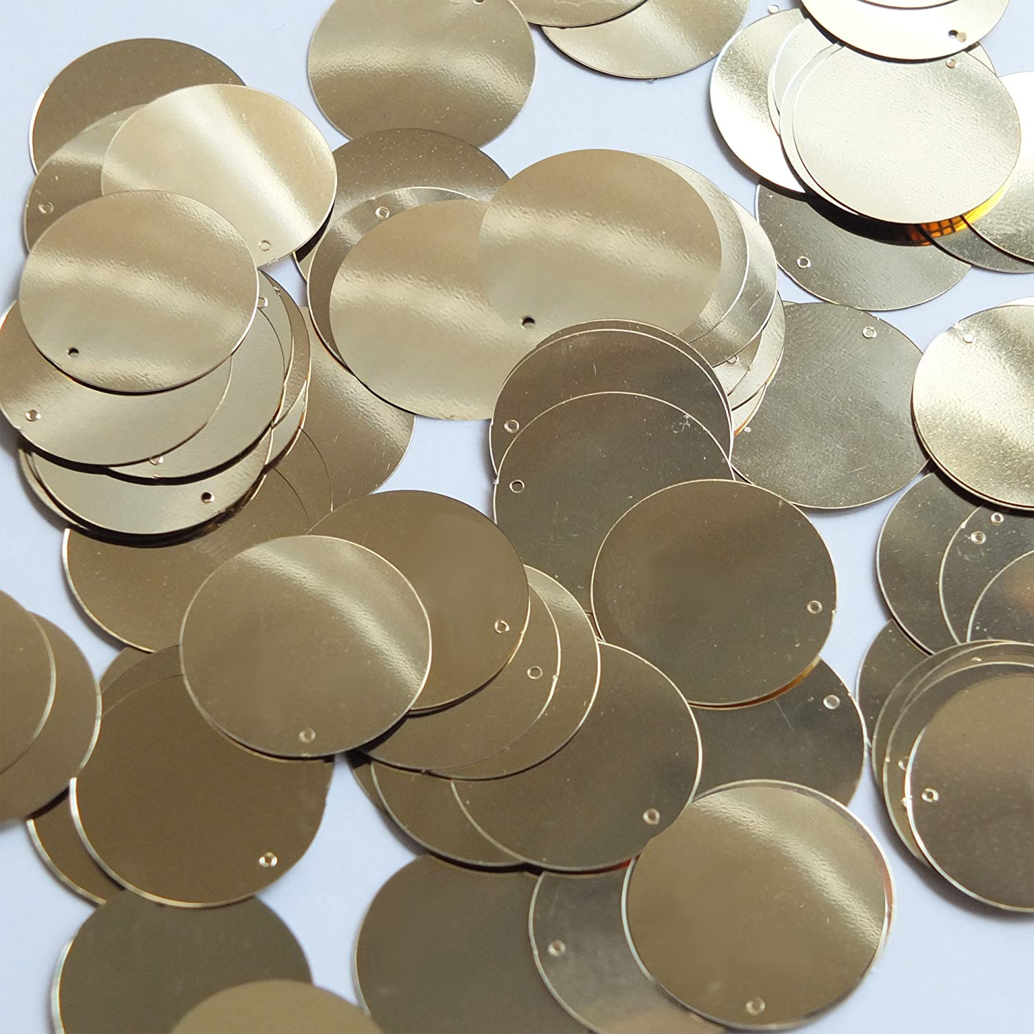 Round Sequin 24mm Light Gold Metallic Loose Couture Paillettes