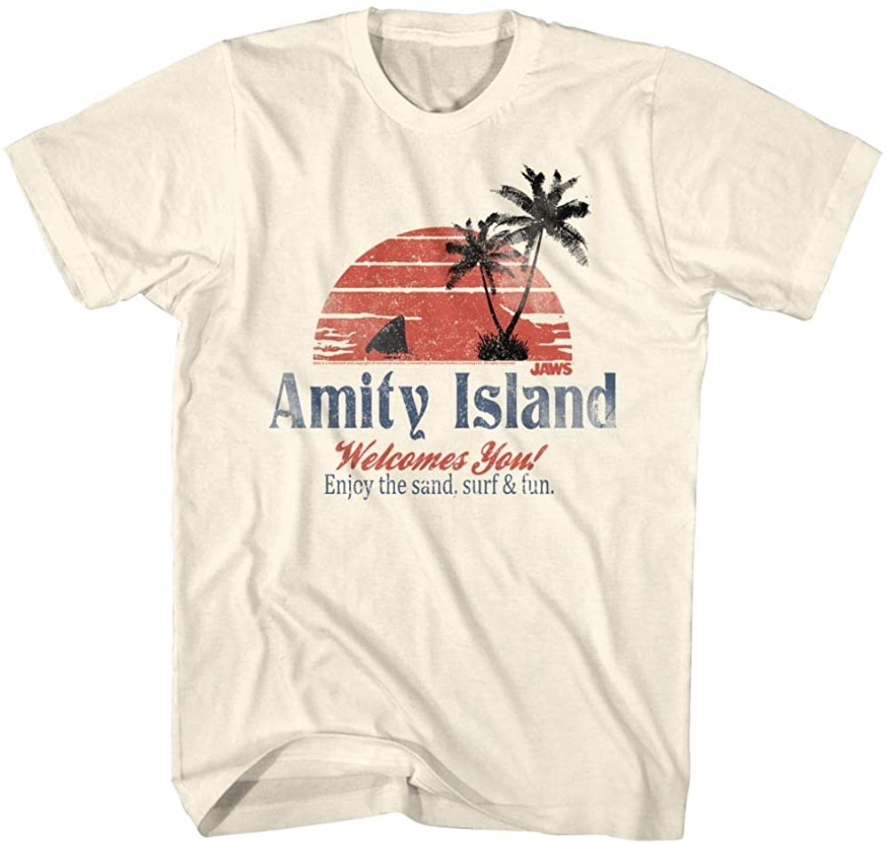 Jaws T-Shirt Amity Island Welcomes You Natural Tee