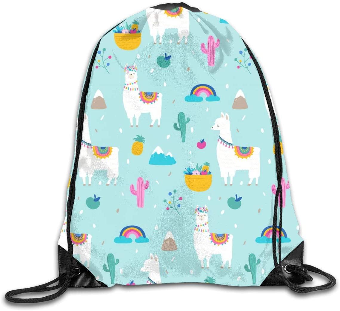 Bundle Backpacks Gym Drawstring Bags Llama Cactuses Casual Women Men School Bag Training Daypack Yoga Pouch