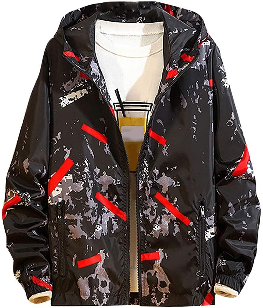 VEFSU Men's Color Block Printed Overcoat Loose Jacket Zipper Hooded Coat (M-5XL)