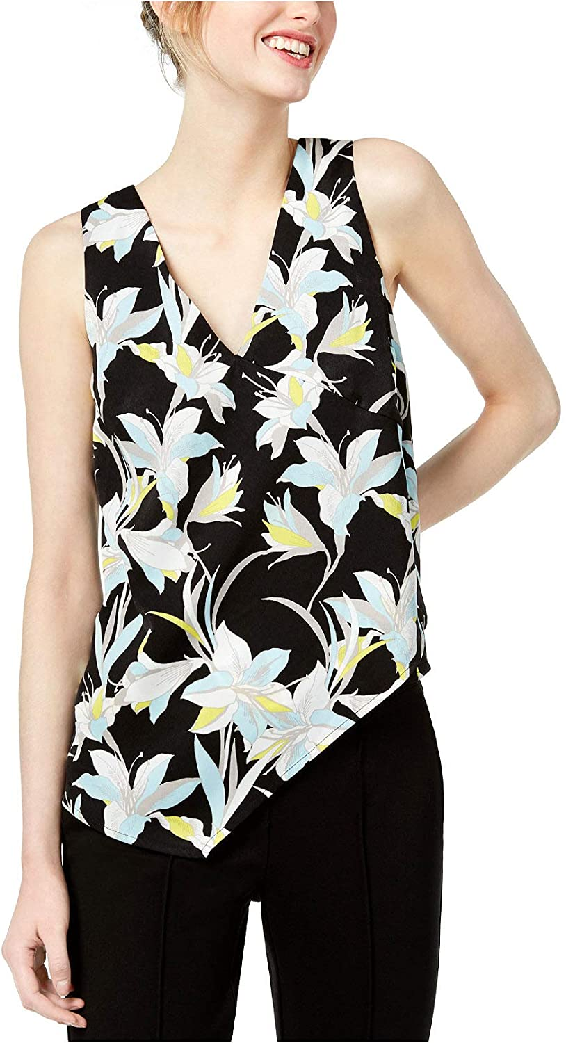 Bar III Women's Mod Lillies Asymmetrical V-Neck Sleeveless Top, Multi (Medium)