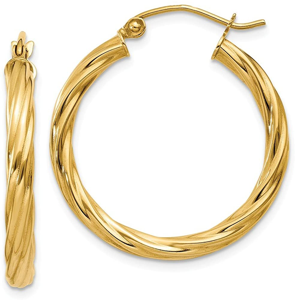 14K Yellow Gold Polished 3.25mm Twisted Hoop Earrings