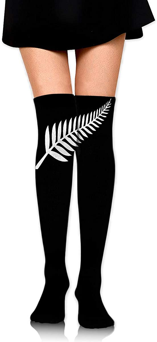 Knee High Socks New Zealand Maori Fern Women's Athletic Over Thigh Long Stockings