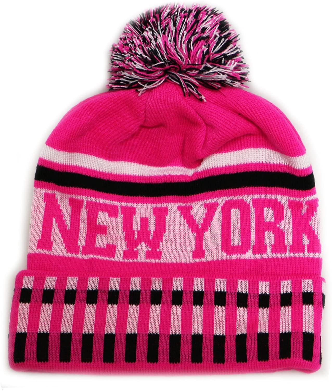 City Hunter Sk1120 New York Vertical Pattern Pom Pom Beanie Hat - Neon Pink/black