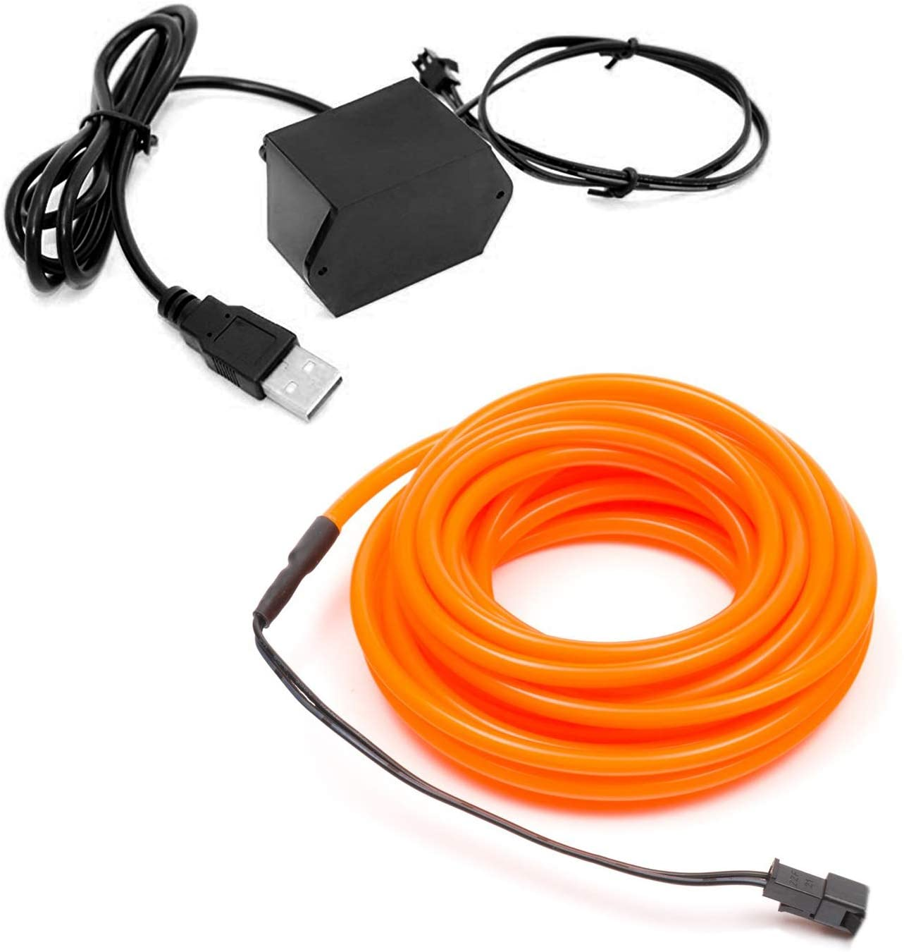 1-Pack 10m/32.8ft Orange Neon LED Light Glow EL Wire - 3.2 mm Thick - Powered by 12V USB Port - Craft Neon Wire String Light for DIY Project Costume Accessories Cosplay