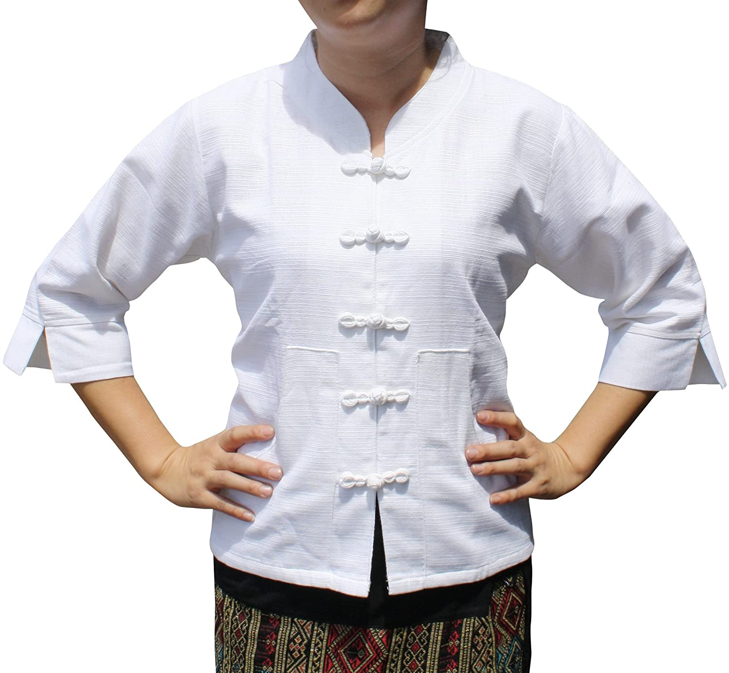 RaanPahMuang Formal Chinese Handmade Cotton Ladies Shirt with Fabric Buttons