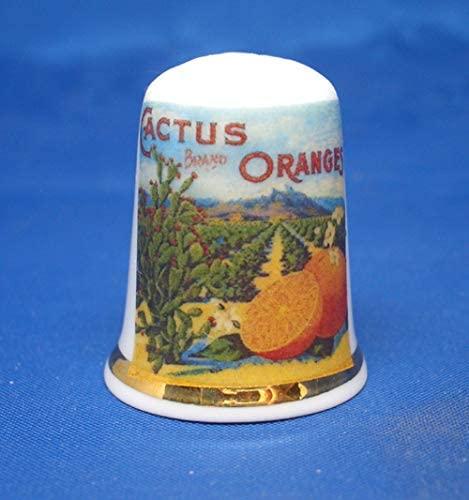 Birchcroft Porcelain China Collectable Thimble - Fruit Label Cactus Oranges Box