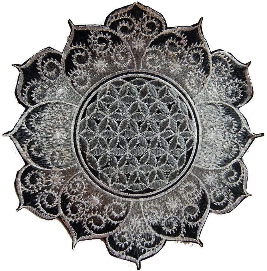ImZauberwald Flower of Life sacred geometry patch ~7inch white fractal mandala