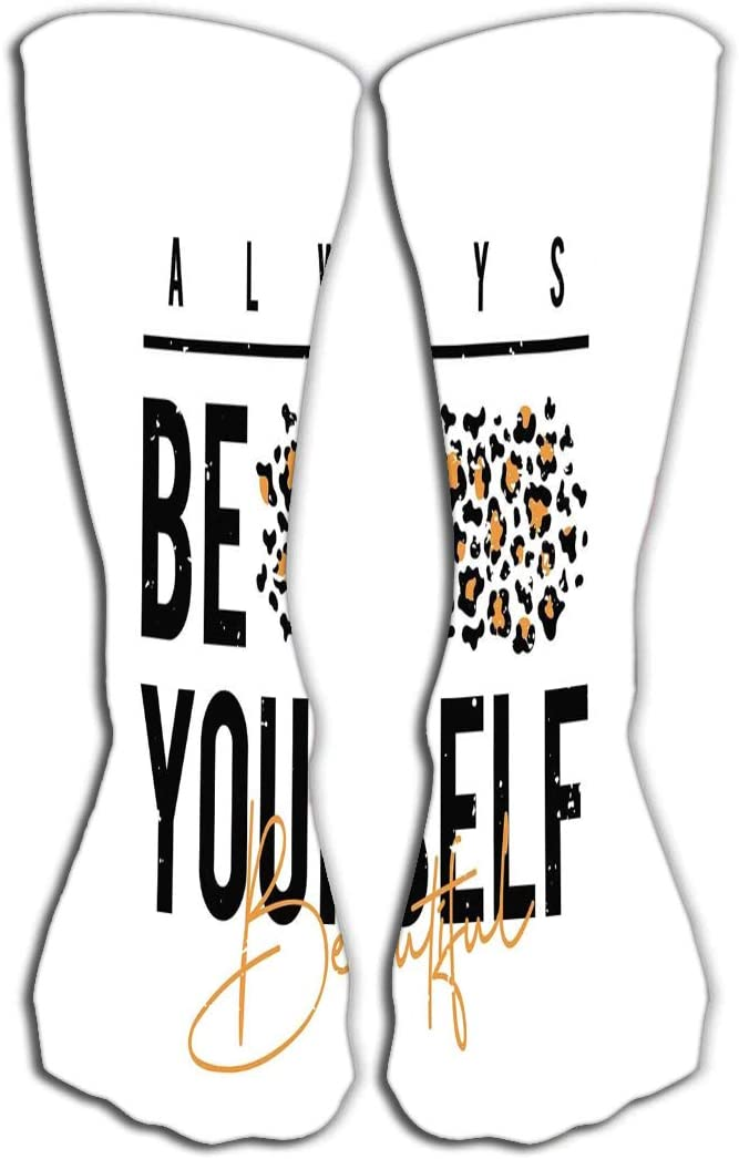 YILINGER Womens Girls Mens Novelty Over Calf Knee High Socks Funny Boot Sock 19.7(50cm) Design Leopard Print Slogan Skin Texture be Yourself
