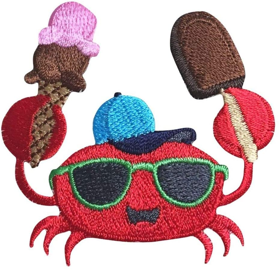 Red Crab - Sunglasses - Ice Cream - Iron on Applique/Embroidered Patch
