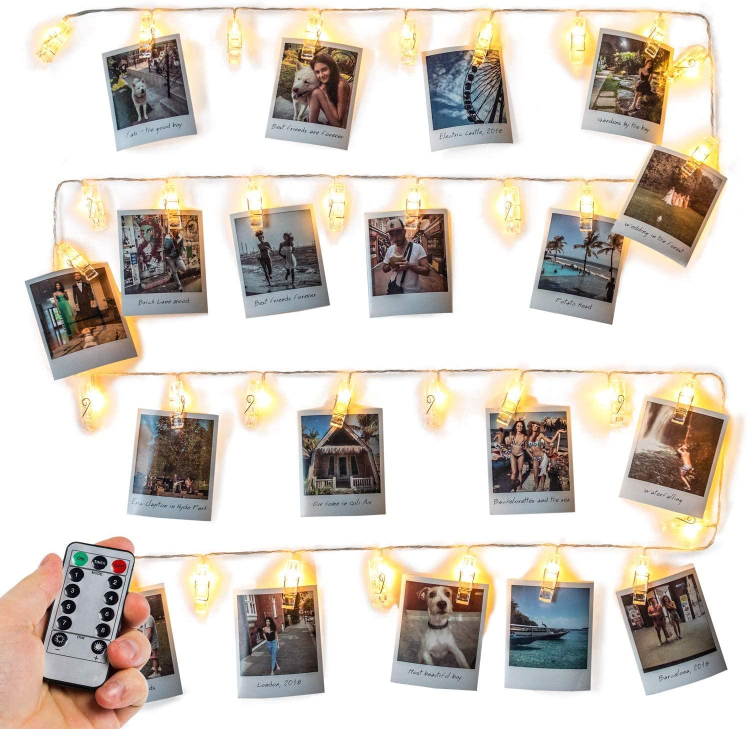 Photo Clip String Lights, Fairy 40 Clips LEDs Lights Window Curtain Wall Dorm Lighting for Christmas Hanging Artwork Photos Memos Paintings, Bedroom Dorm Home Décor,Battery Operated