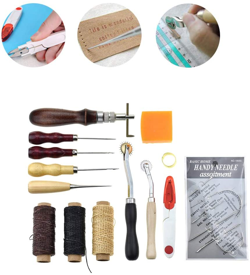 YXMxxm 13 Pieces Leather Craft Hand Tool Kit for Hand Sewing Stitching, Stamping Set and Saddle Making Suitable for Beginner & Proficient