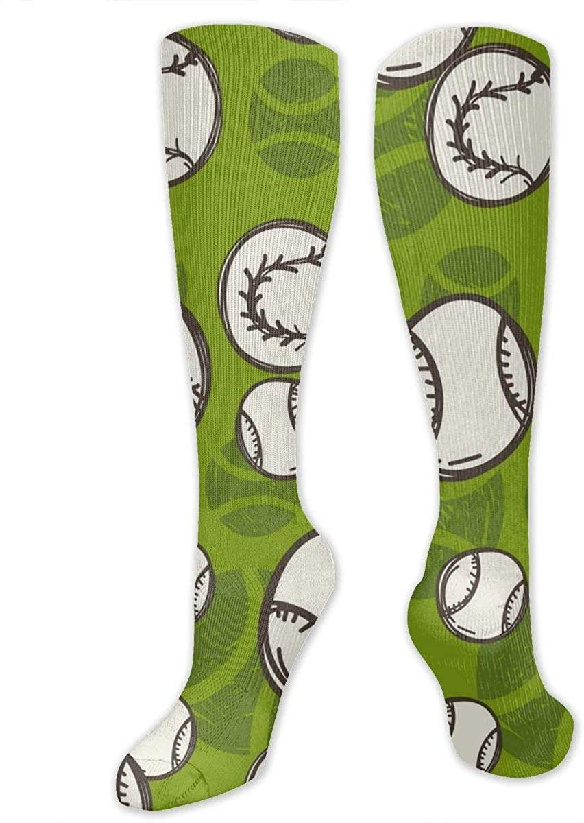 Knee High Socks For Men Women Tennis Ball Pattern Running Hose Stockings