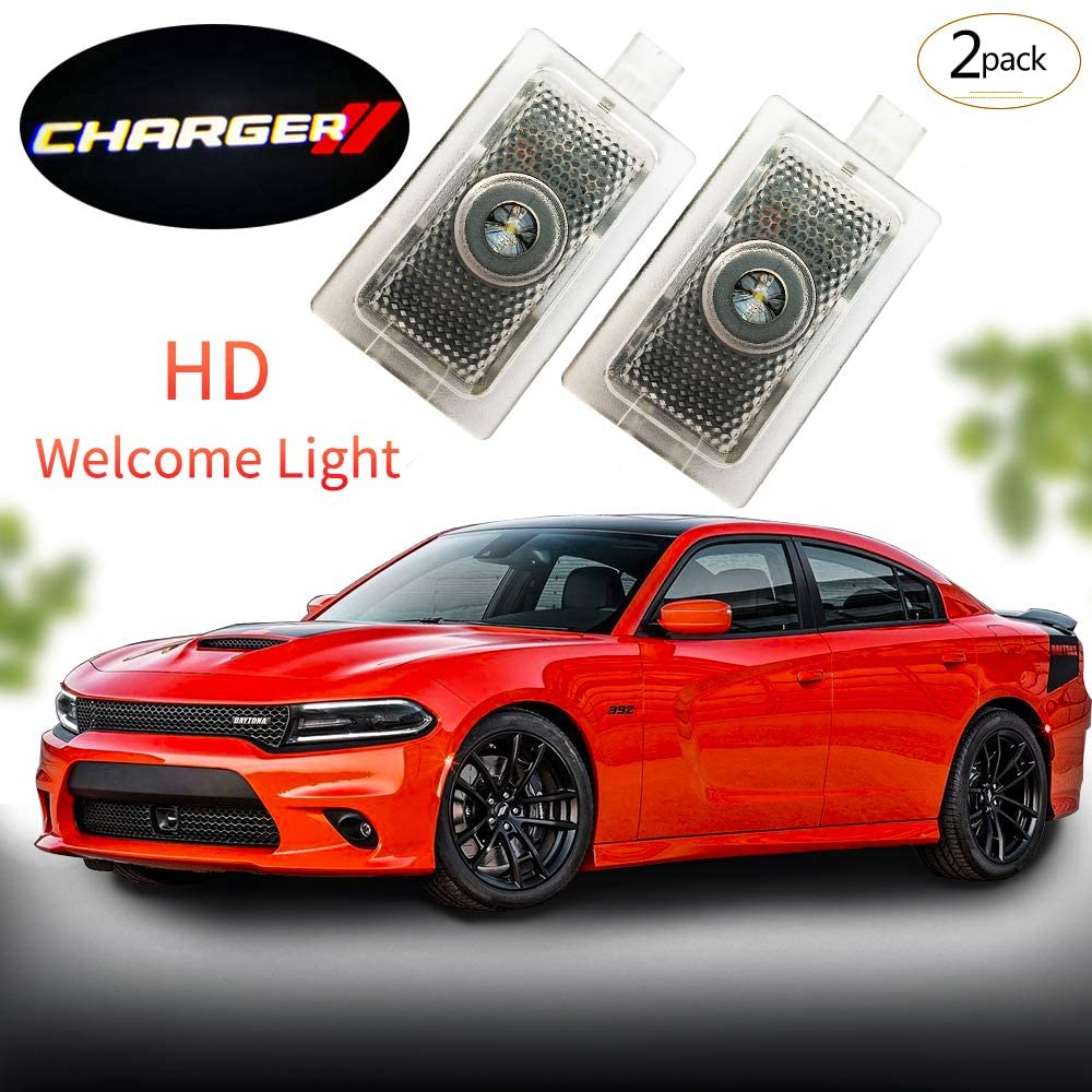 Moderncar 2 pcs New Car styling logo Projector Ghost Shadow LED courtesy welcome Door Light for Dodge Charger 2006-2019 No Wiring(Pack of 2)