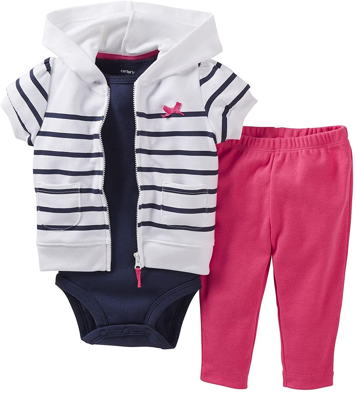 Carter's Stripe 3pc. Hoodie S/S Cardigan Set (3 Months)