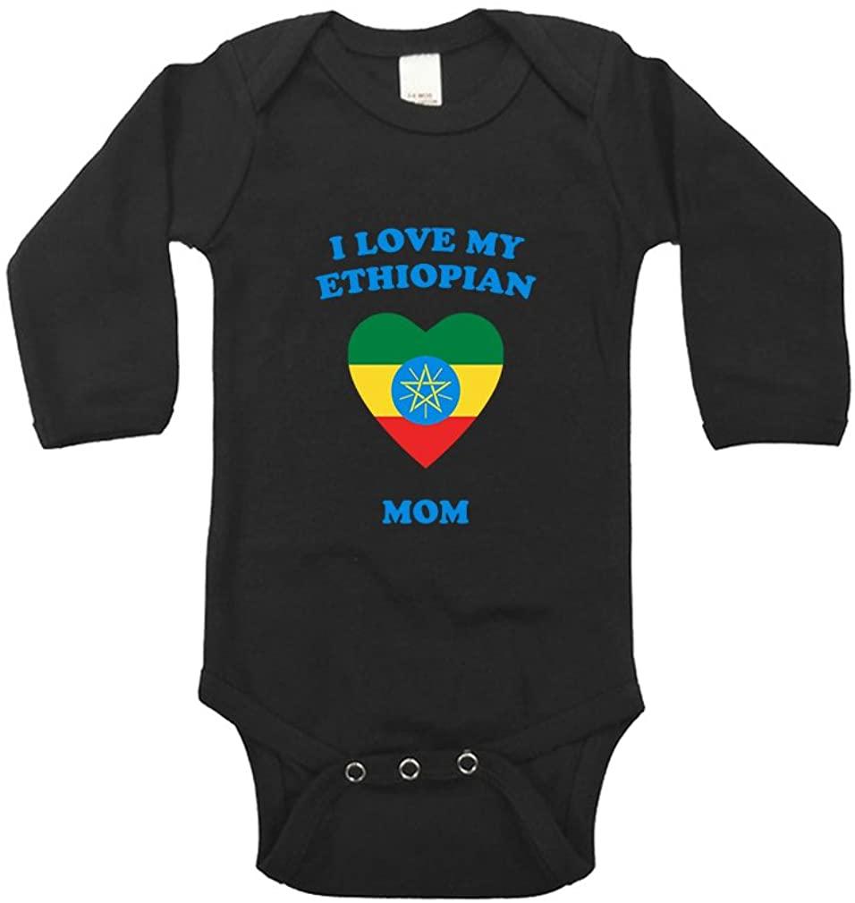I Love My Ethiopian Mom Long Sleeve Baby Bodysuit One Piece Black 12 Months