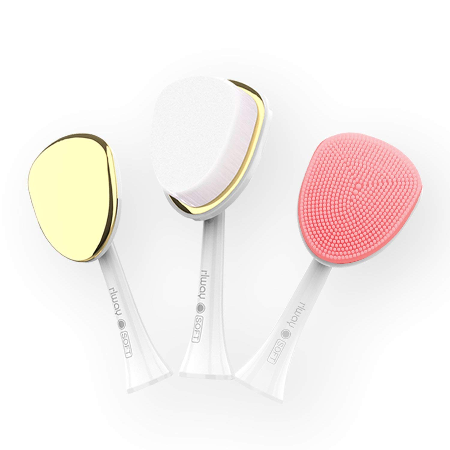 Facial Cleansing Brush, rlway 3 in 1 Advanced Cleansing System with Facial Cleansing Brush for Exfoliating and Microdermabrasion (White)