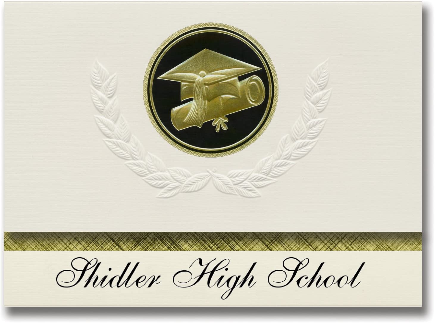 Signature Announcements Shidler High School (Shidler, OK) Graduation Announcements, Presidential style, Elite package of 25 Cap & Diploma Seal Black & Gold