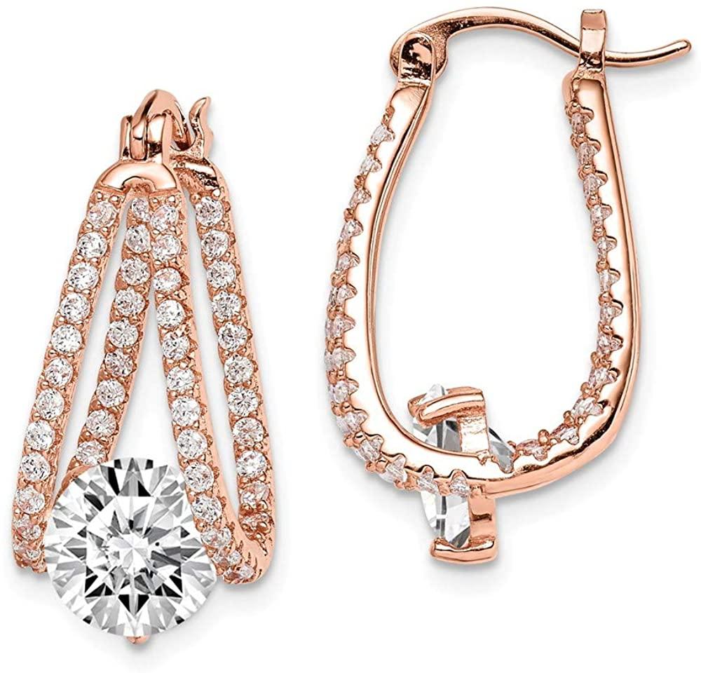 Sterling Silver Pink Synthetic CZ Hoop Earrings QE14660