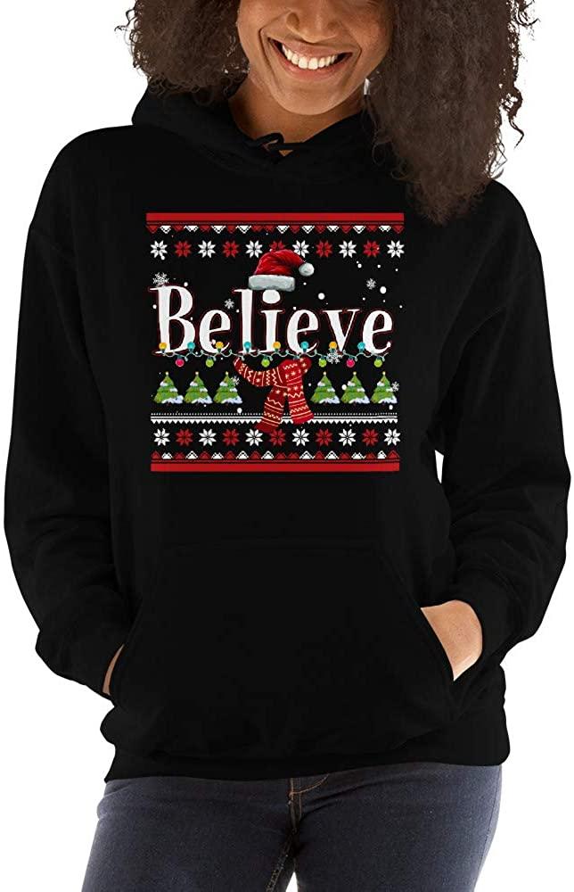 TEEPOMY Christmas Santa Believe Xmas Christmas July Holiday Funny Unisex Hoodie