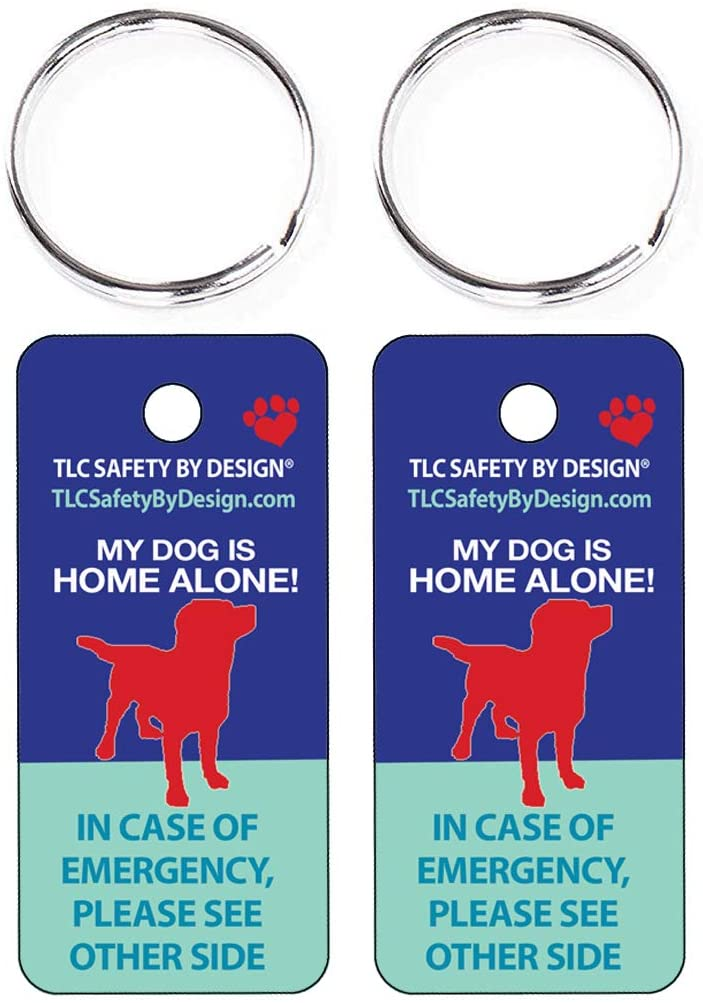 TLC Safety By Design 2 Pk. Key Tags and Keychain Rings Trademarked My Dog is Home Alone Alert Emergency Medical ICE ID Plastic with Emergency Contact Call Card (Qty. 1)