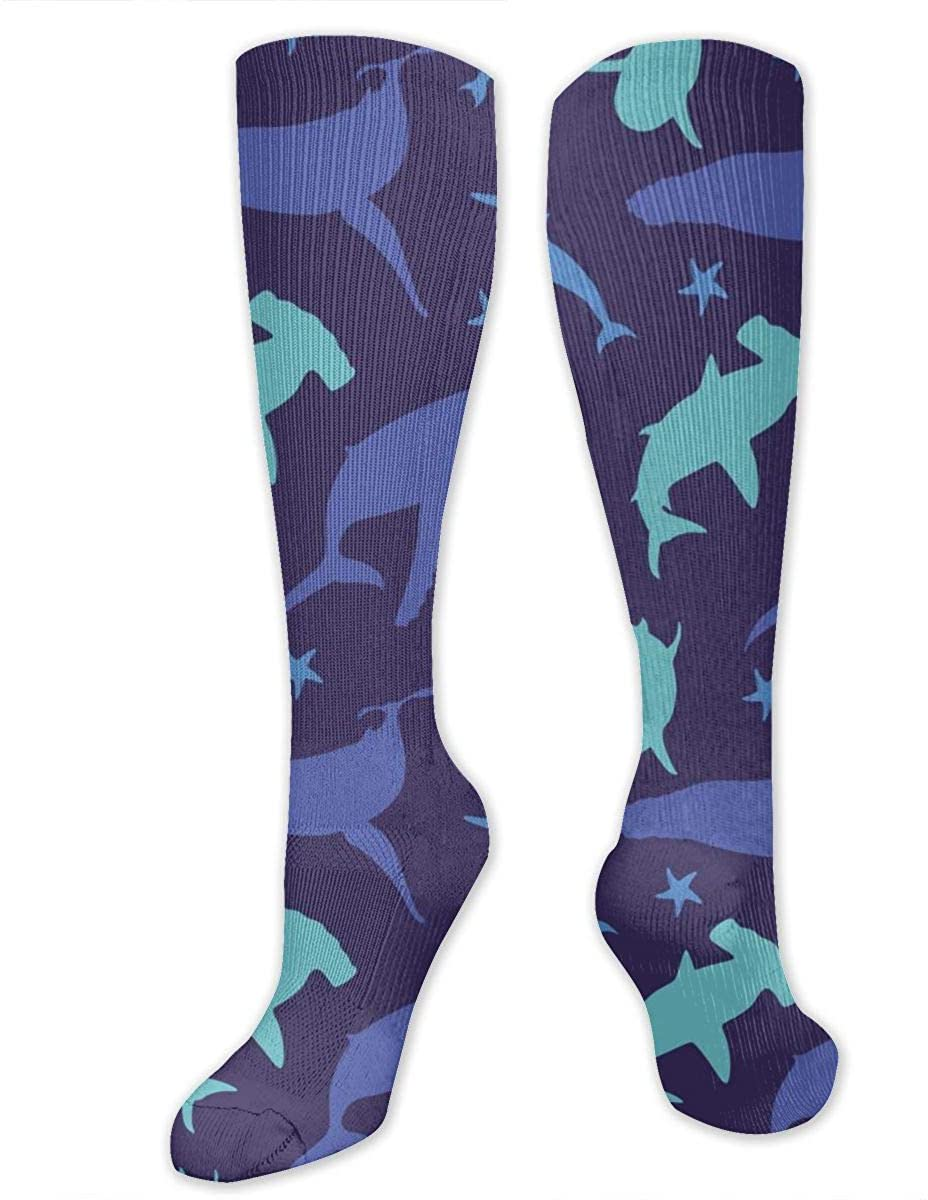 Men Women Knee High Socks Sea Starfish Whale Dolphin Shark Long Hose Stockings