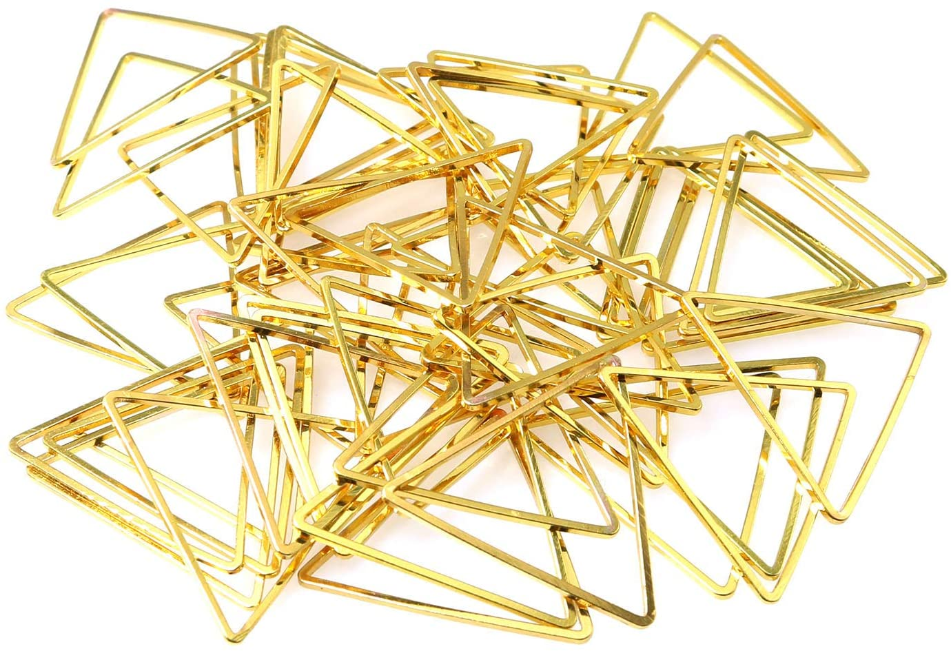 RLECS 50pcs 0.94in Golden DIY Triangle Earrings Accessories Brass Triangle Shape Closed Rings Connect Rings Making Findings Connectors Earring Pendant Bracelet for Jewelry