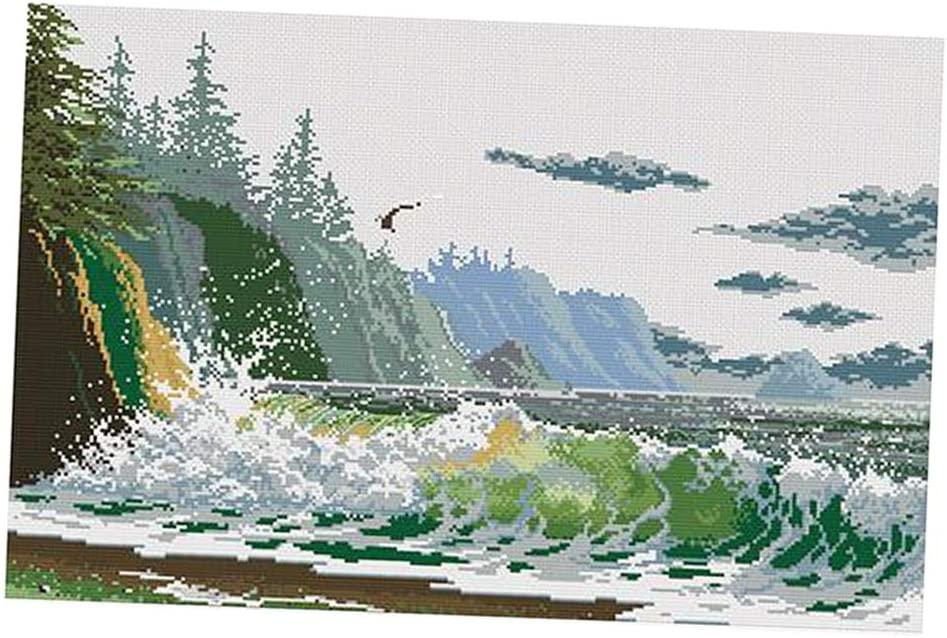 Bonarty 1 Set DIY Stamped Cross Stitch Kits with Sea Wave Pattern Crafts
