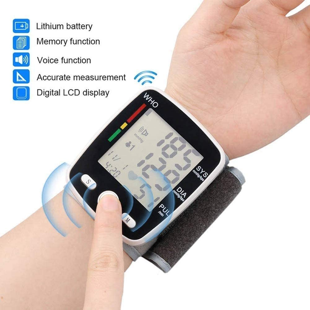 LCD Display Blood Pressure Monitor,Voice Function and Dual User Mode Automatic Wrist Blood Pressure Monitor Digital,Wrist Pulse Meter Automatic Digital Pulsometer JIAJIAFUDR