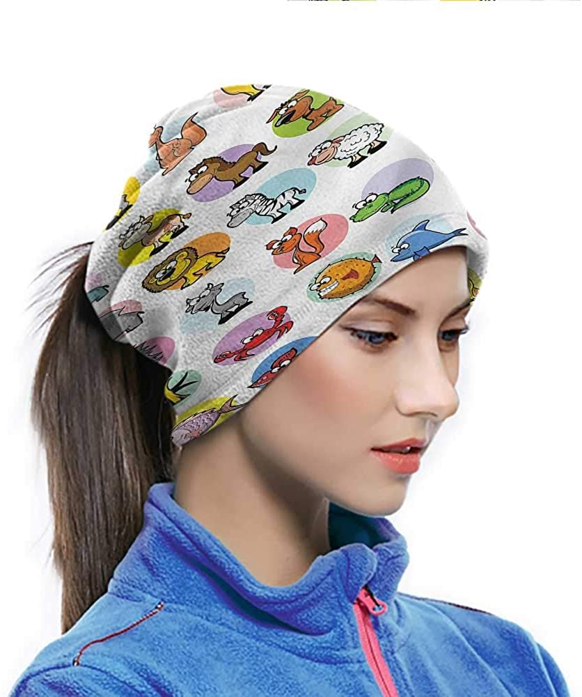 Sport Scarf Zoo, Funny Cartoon Animals Set Multi-purpose Neck Gaiter Breathable and Stretchy 10 x 11.6 Inch