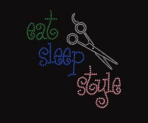 Eat Sleep Style Rhinestone Iron on Design