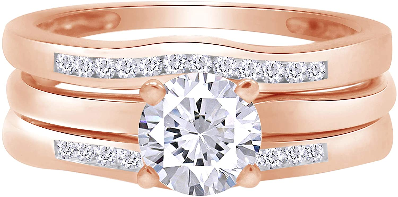 0.35 Carat Round White Natural Diamond Curve Enhancer Guard Ring 10K Solid Gold