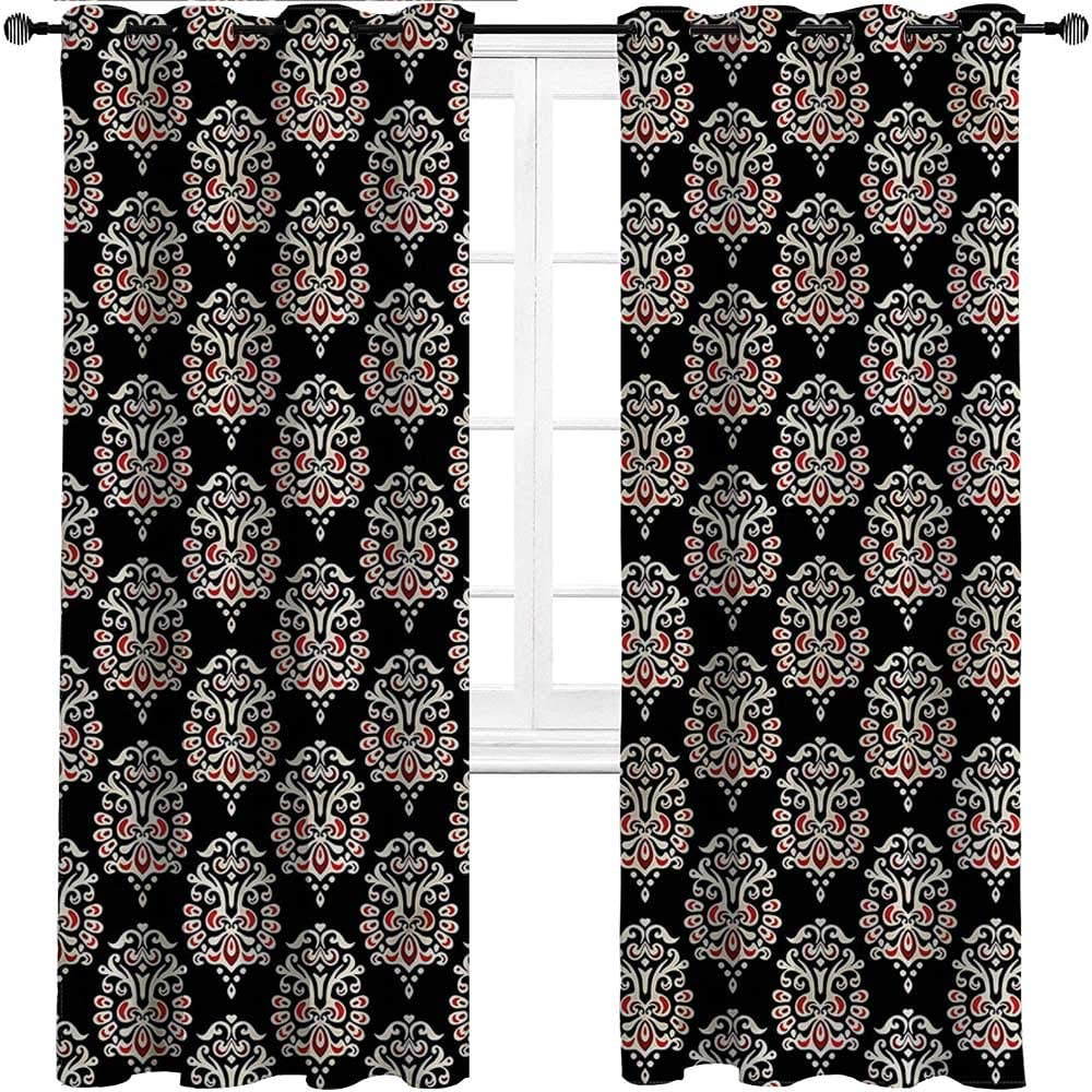 GugeABC French Door Curtains Damask Grommet Drapes for Patio Pergola Porch Deck Traditional Abstract,Set of 2 Panels, 72 Width x 63 Length
