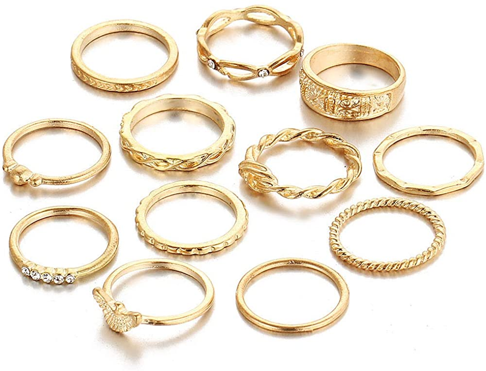 KUONY 12PCS Simple Knuckle Midi Ring Set Vintage Multi Size Finger Stackable Rings Joint Rings for Women Girls