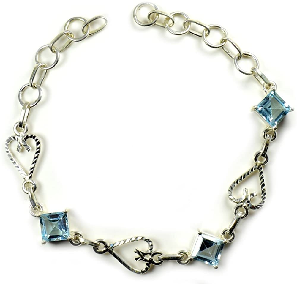 55Carat Real Bracelet for Women Sterling Silver Emerald-Cut Blue Topaz Handmade Jewelry L 6.5 to 8 Inches
