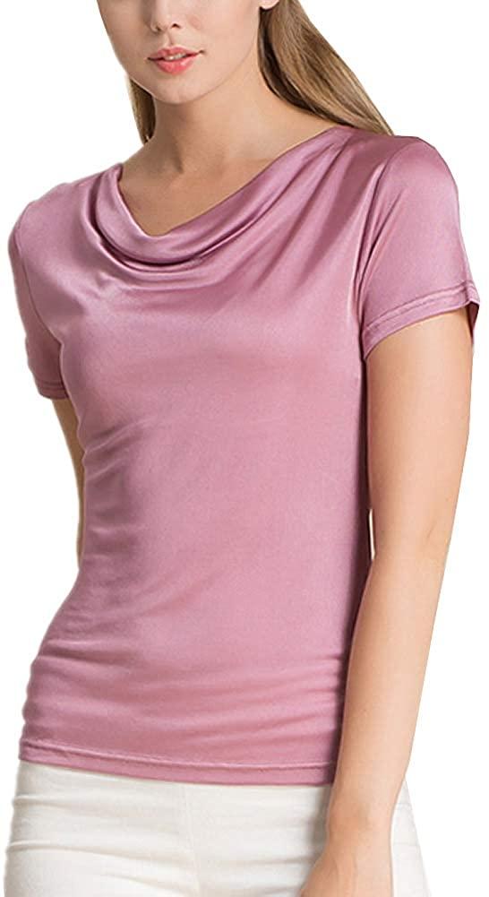 DISSA Plain Women Silk Blouse Top Plus Size Free Collar Sleeveless Silk Shirt Top,HS1190