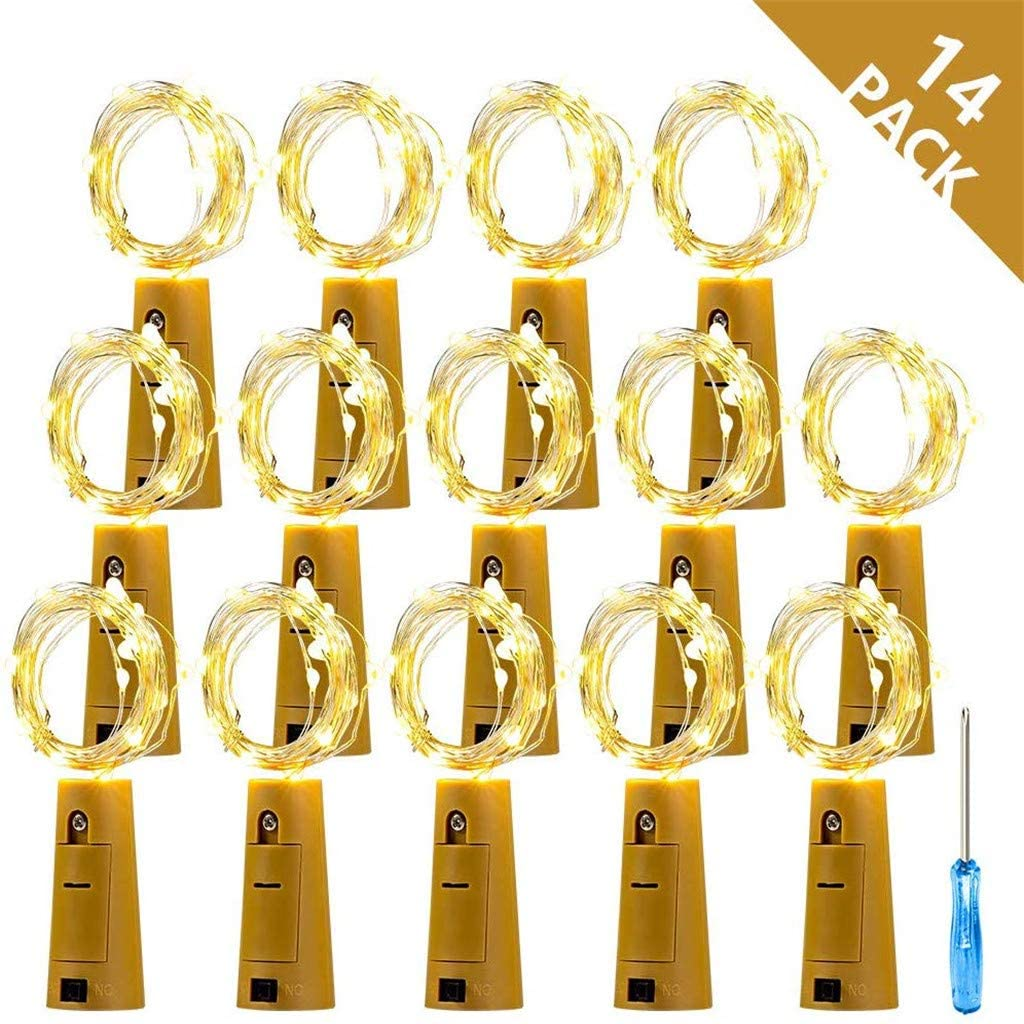 Zhangxiaowei Led String Decor Lights LED Wine Cork Lamp Strings Shaped Bottle Copper Wire Light Bar Atmosphere Decoration,Yellow