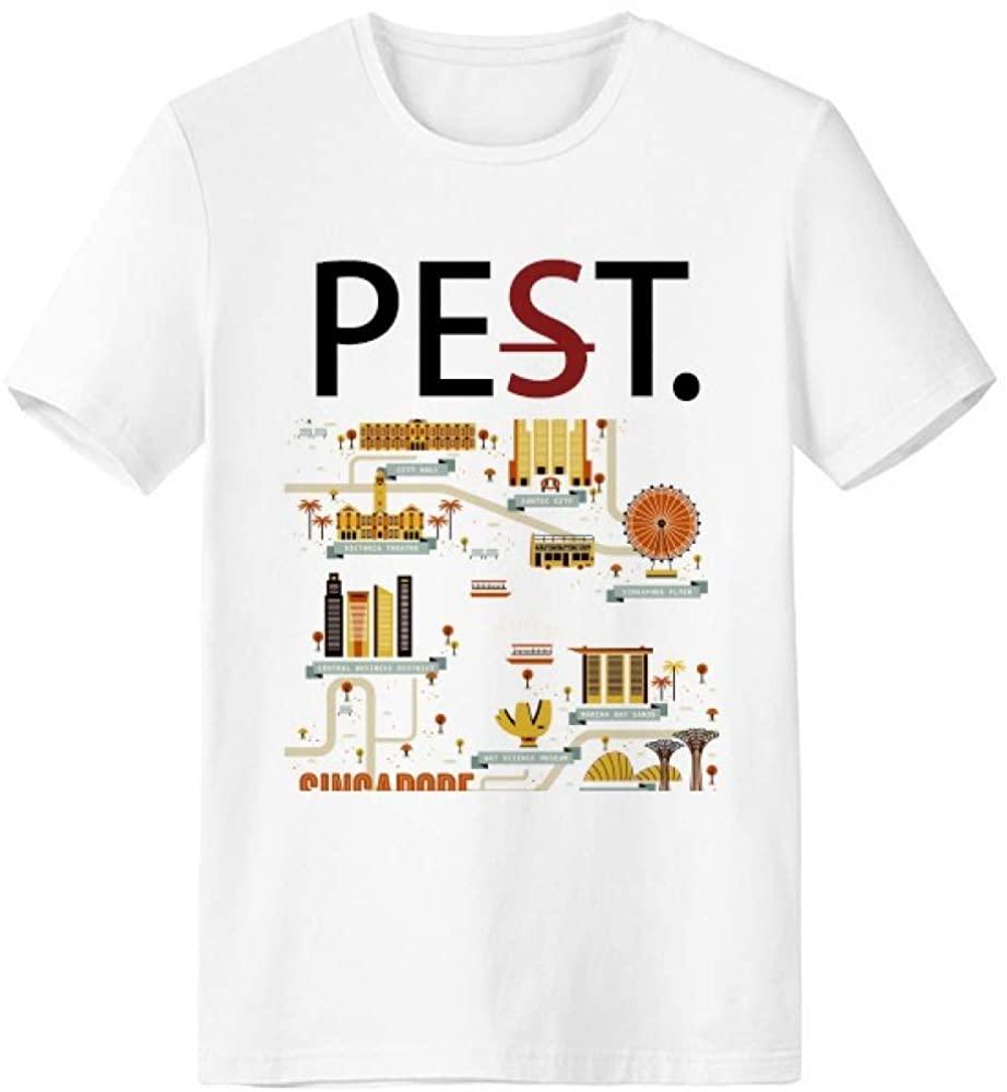 Vintage Singapore Landmark Pet But Not Pest White T-Shirt Short Sleeve Crew Neck Sport