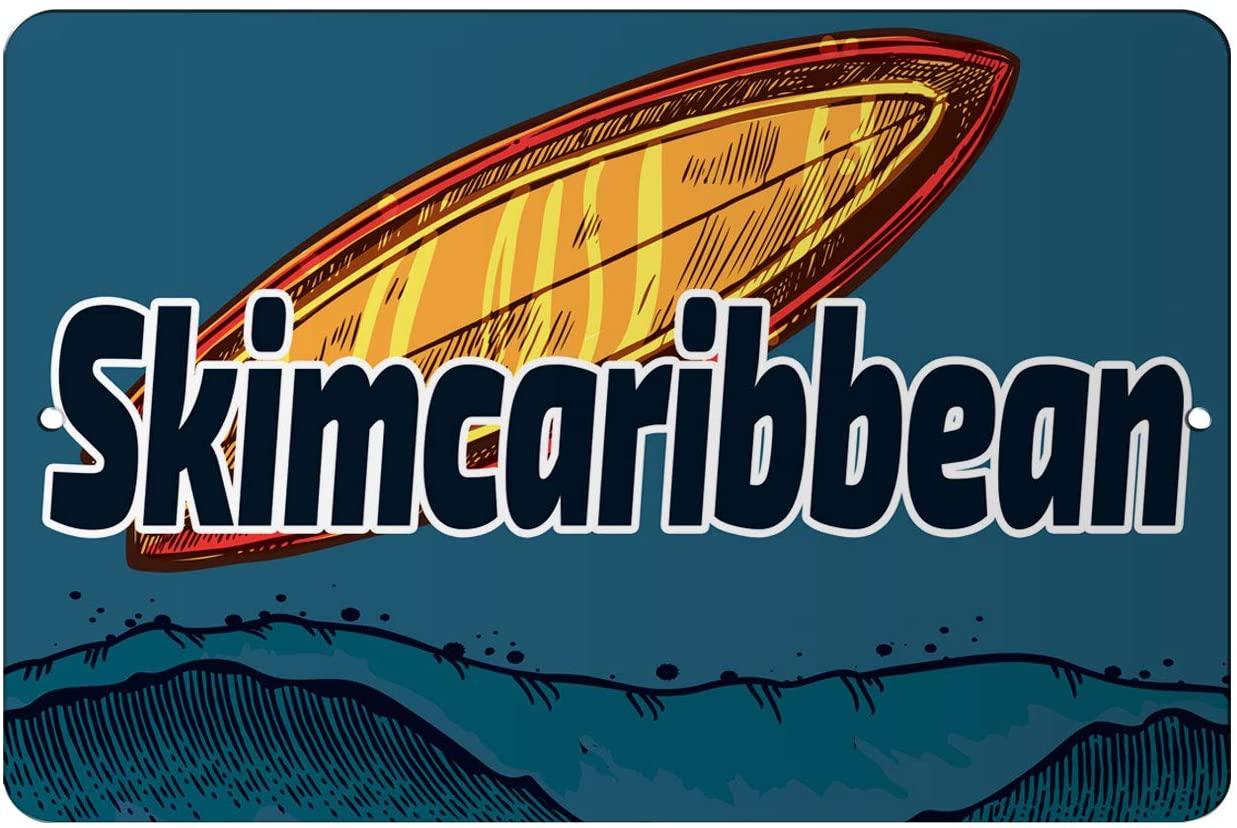 Makoroni - Skimcaribbean Surfing Beach 8x12 inc Aluminum Decorative Wall Street Sign