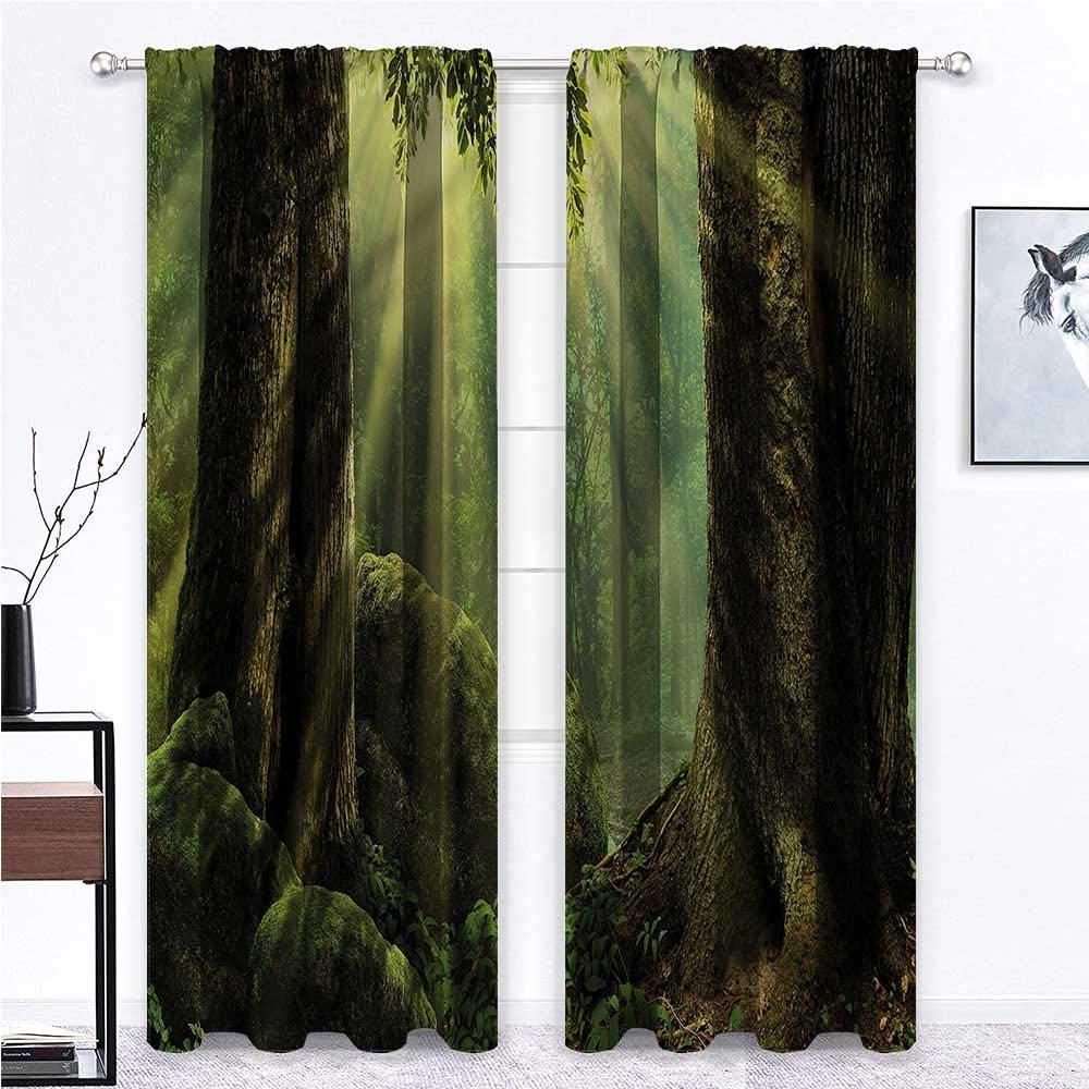 GugeABC Patio Curtains Nature for Living/Bedroom Room Patio Door Sunbeam Moss Tree Bodies 72 x 72 Inch (2 Panels)