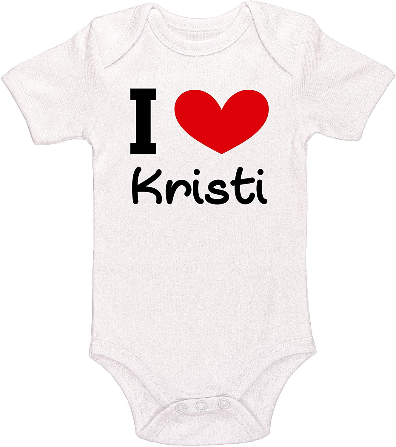 Kinacle I Love Kristi Personalized Baby Bodysuit