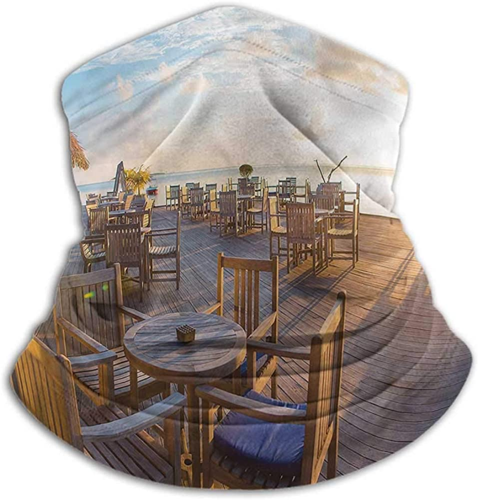 Face Bandanas Travel Recycle Elasticity Stretchable Empty Wooden Open Air Cafe 10 x 12 Inch