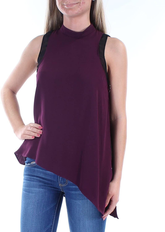 RACHEL Rachel Roy Womens Colorblock Asymmetrical Blouse Purple XS