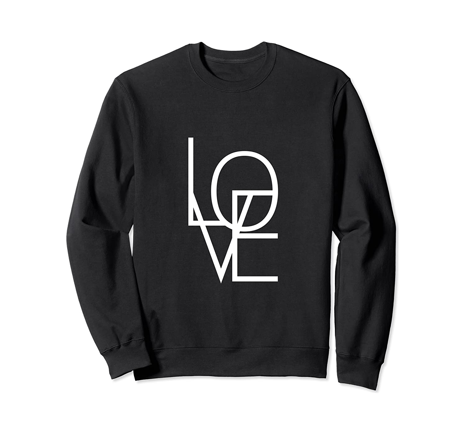 Love Geometric White Text Sweatshirt